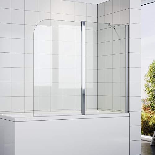 SONNIDuschtrennwand 140x120cm (BxH) mit Stabilisator,Duschwand Badewannenaufsatz, Duschwand für badewanne