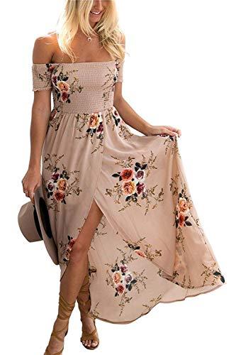 GREMMI Sommerkleider Damen Blumen Maxi Kleid Schulterfreies Abendkleid Strandkleid Party Schulter Kleider Chiffon Kleid- Gr. 36(S) ,Khaki