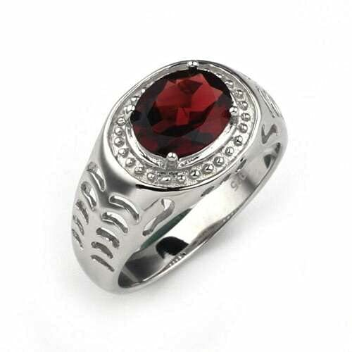 Silver sold out Garnet Band 2 Ct Ring 7x9 mm Super special price Oval Statement
