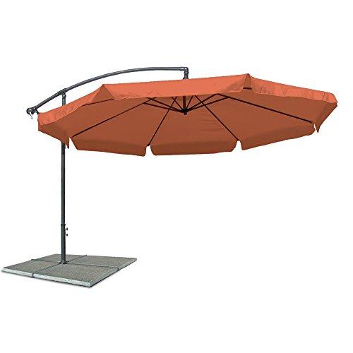 JOM Ampelschirm, Sonnenschirm mit 350 cm Durchmesser in Terracotta, Material Polyester 160G, wasserabweisend, Metallstreben, Neigungswinkel verstellbar, mit Kurbelsystem