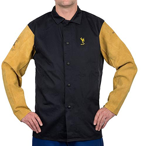Weldas COOL FR Welding/Fire Retardant/Dielectric Jacket - Cotton and Leather Kevlar Sewn Sleeves - Navy Blue - Size XL