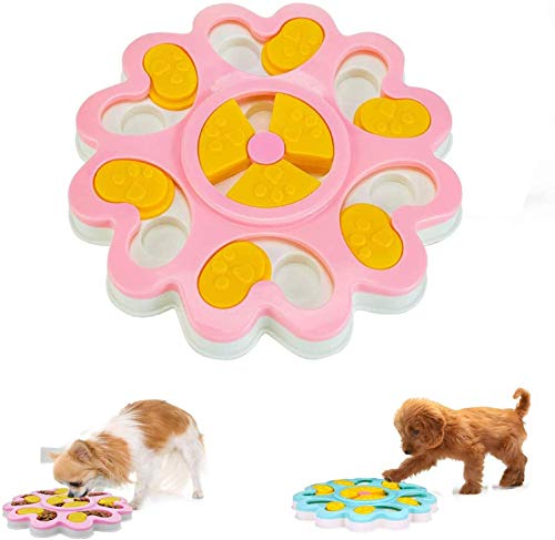 Linseray Dog Puzzle Giocattolo, Interattivo Treat Dispenser Puzzle Dog Toy per Cani Alimentatore Lento Pet Bowl Dog Training Games Feeder con Antiscivolo per Puppy Pet(Rosa)
