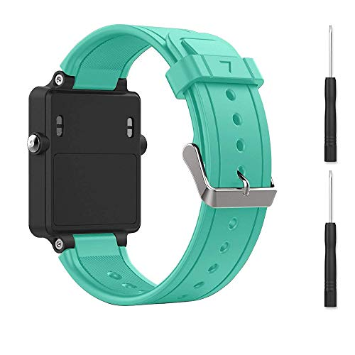 Replacement Band for Garmin Vivoactive, Silicone Replacement Fitness Bands Wristbands with Metal Clasps for Garmin vivoactive GPS Smart Watch (Mint Green)
