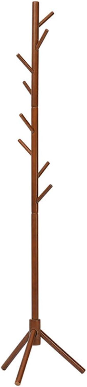 Coat Racks Hallway Furniture Solid Wood Coat Rack Bedroom Floor-Standing Hanger Home Simple Hanger 176CM (color   Brown, Size   3.5CM)
