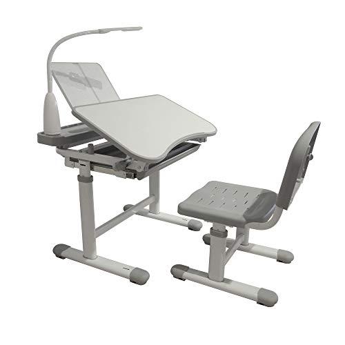 Kinderschreibtisch höhenverstellbar, Schülerschreibtisch Kindermöbel neigungsverstellbar, Kindertisch mit Stuhl, Schreibtisch Kinder