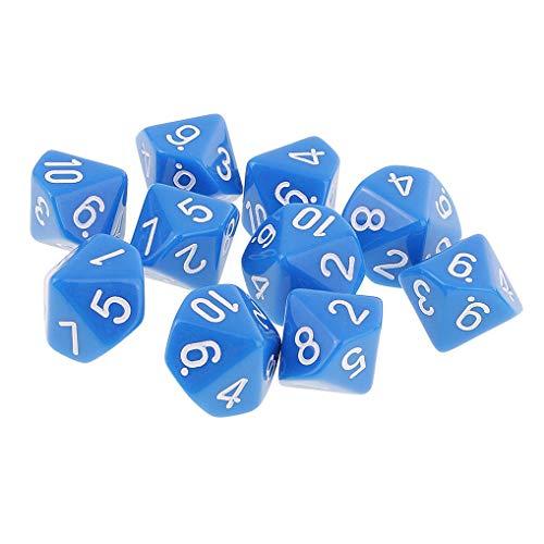 Yourandoll 10 pièces dés polyédriques D10 dés 16mm de Jeux de dés en Acrylique pour DND Dice RPG MTG Table Jeux (Bleu)