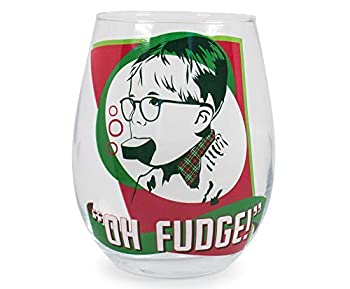 Silver Buffalo A Christmas Story Oh Fudge! Stemless Wine Glass   Funny Oversized Cup for Barware Set   Festive Drinkware for Tea Coffee Cocktails Hot and Cold Beverages   Holds 20 Ounces
