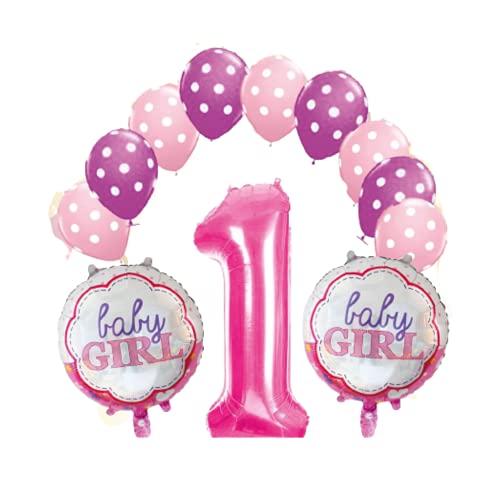 Kit de globos para primer cumpleaños de niña – 13 unidades con temática rosa / fucsia – 1 globo con forma de número, 2 globos con chupete y 10 globos clásicos