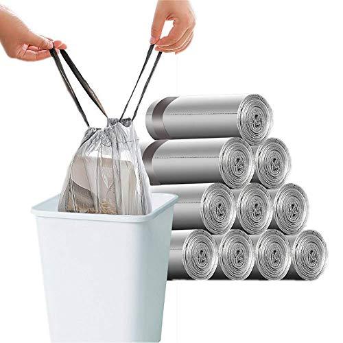 150 Stück Müllsäcke 10L-15L Müllbeutel Zugband Müllsäcke Groß Starke Müllbeutel 45x50cm 10L-15L 150PCS grau
