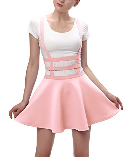 Urban CoCo Womens Elastic Waist Pleated Short Braces Skirt (Medium, Pink)