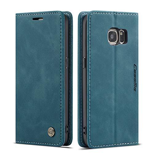 QLTYPRI Hülle für Samsung Galaxy S7, Vintage Dünne Handyhülle mit Kartenfach Geld Slot Ständer PU Ledertasche TPU Bumper Flip Schutzhülle Kompatibel mit Samsung Galaxy S7 - Blau