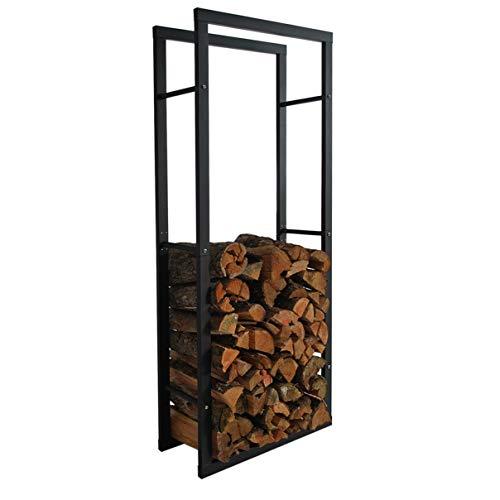 HELO 'B2' Metall Feuerholzregal 60x150x25 cm schwarz pulverbeschichtet für innen und außen zur Lagerung von Kaminholz indoor & outdoor, Kaminholzregal aus Metallgestell mit Vierkantrahmen Streben