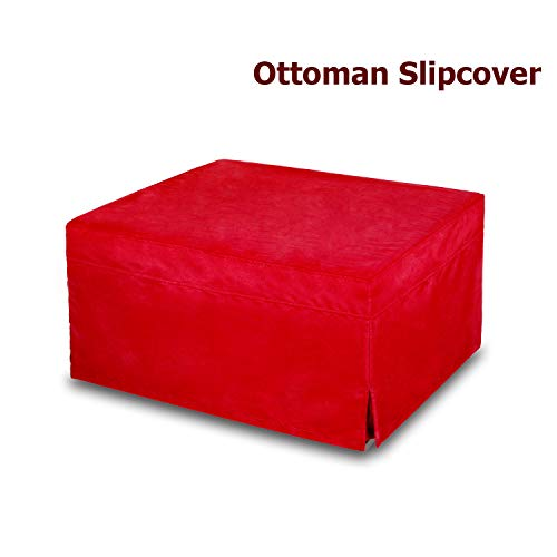SPACE INNOVATIONS Ottoman Slipcover, Sofa Slipcovers, Protector Covers, Oversized, Microfiber, Red