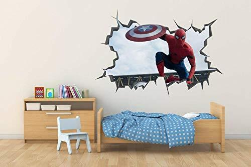 Pegatinas de pared Spider's Revenge Agujero de la pared Calcomanía 3D Calcomanía de vinilo Decora la habitación