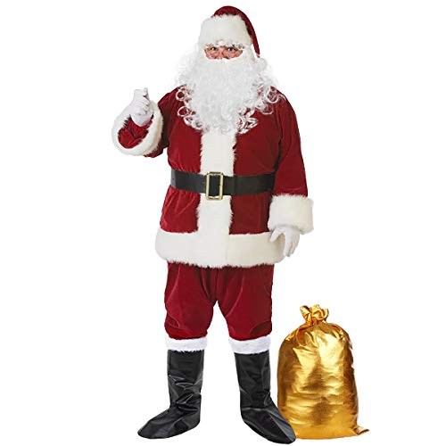 Christmas Santa Claus Costume Set Men's Santa Costume Deluxe Santa Suits (OneSize, Wine Red)