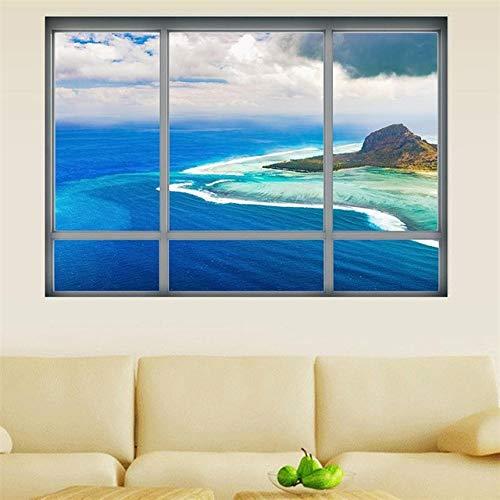 Neue 3d Fenster Aufkleber Wandaufkleber Home Decor Mauritius Landschaft Strand Meer Landschaft View Art Wallpaper Wandbild Poster