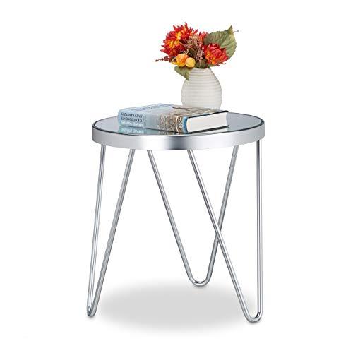 Relaxdays Table d'appoint en Verre Chromé Miroir, Petite Table basse de Salon, Chromé, Noble, 47x41,5x41,5cm, Argenté