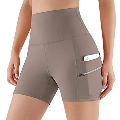 "ODODOS Women's Dual Pockets High Waisted Workout 4"" Shorts, Yoga Athletic Cycling Hiking Sports Shorts, Dark Beige, X-Small"