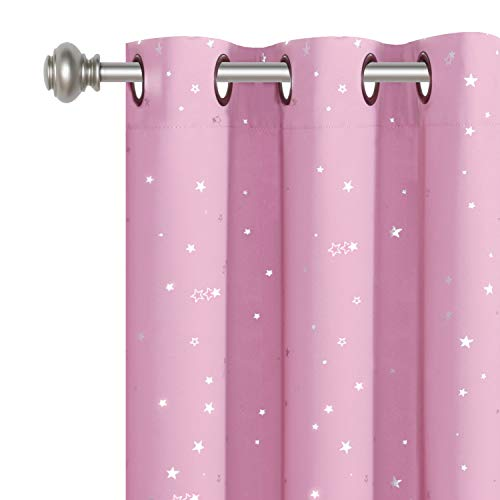 "H.VERSAILTEX Blackout Curtains Kids Room for Boys Girls Thermal Insulated Twinkle Silver Stars Pattern Curtain Drapes, Grommet Top, 1 Panel, 52"" W x 84"" L, Pink"