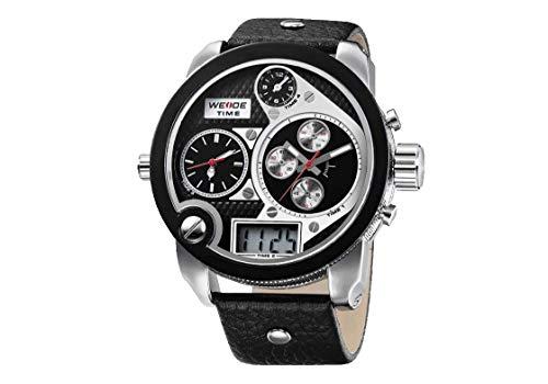 CursOnline Reloj Elegante para Hombre 2305 XXL Correa de Calendario Resistente al Agua de Gran tamaño analógica y Digital de Gran tamaño Triple Tiempo Luz LED de Cuero Genuino. Color Blanco y Negro