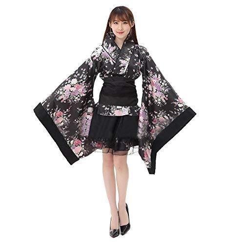 Frauen Cosplay Lolita Kostüm japanische Kimono Anime Kostüme,6 set- Flower Sakura Druck Kimono Robe Yukata japanischen Kleid, Nette Frauen Anime Cosplay Französisch Maid Schürze Kostüm (2Schwarz, S)