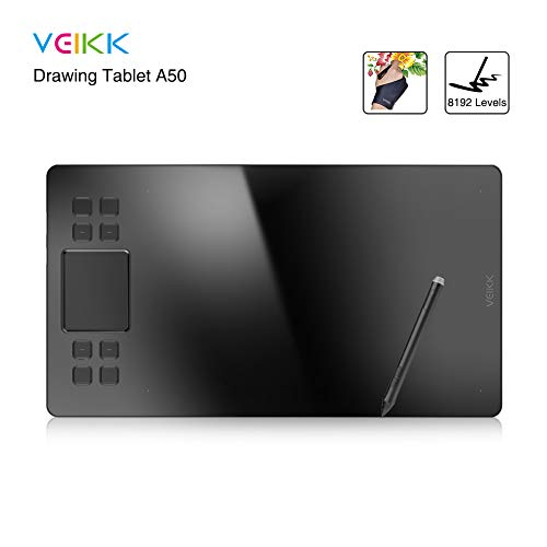 Drawing Tablet VEIKK A50 Graphic Tablet with 8192 Levels Pressure Sensitivity Comes with a Battery-Free Pen 8192 Levels and an Artist Glove