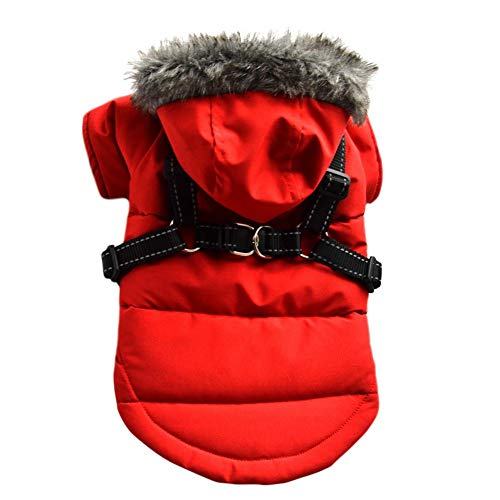 Savlot Winter Hundejacke Winter Weste Windbreaker Pet Warmer Mantel Hunde Hoodie Hundemantel mit Brustgurt Geschirr für kleine Hunde