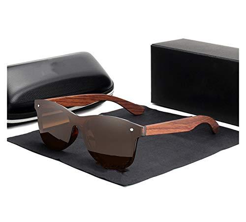 QQGGTongFeng Clásico Gafas de Sol de Madera Natural Hombres Polarizadas Moda Gafas de Sol de Madera Original para Exterior (Lenses Color : Sliver bubinga Wood)