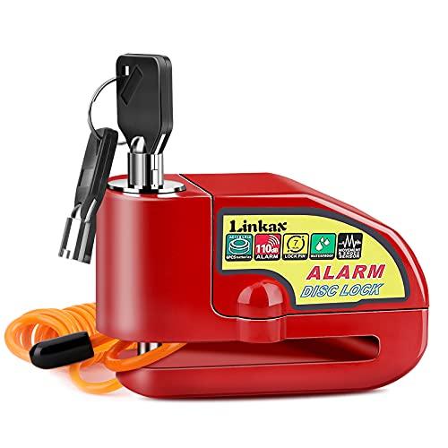 Linkax Candado Moto,110dB Alarma Antirrobo Candado de Disco de Moto con 1.5M Cable,Cerradura con Alarm,Alarm Lock para Motos Motocicletas Bicicletas(Rojo)