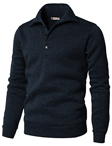 H2H Men's Slim Fit Turtleneck Basic Knit Sweater with Buttons Navy US 3XL/Asia 4XL (CMTTL091)
