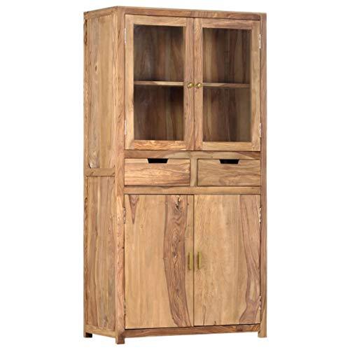 vidaXL Sheesham-Holz Massiv Highboard mit 2 Schubladen 4 Türen Bücherschrank Vitrine Standvitrine Kommode Anrichte Schrank 88x40x170cm