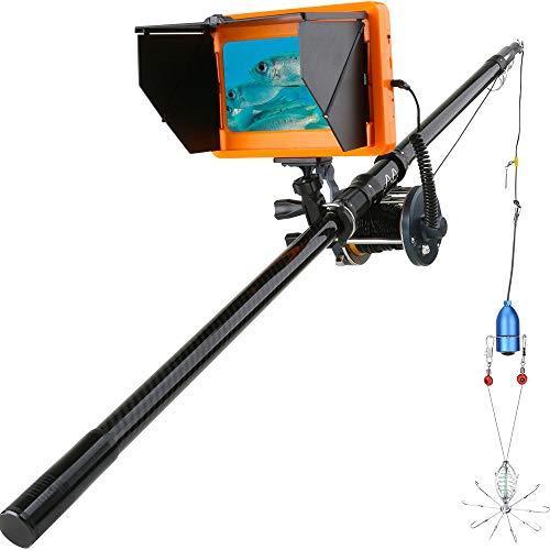 JJIIEE Kamera zum Angeln 7-Zoll-Monitor, 1200TVL Fish Finder Unterwasser-Angelkamera, 10PCS LED Nachtsicht 195 Grad Metall Seerad, 30M