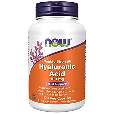 NOW Supplements, Hyaluronic Acid, Double Strength 100 mg, with L-Proline, Alpha Lipoic Acid and Grape Seed Extract, 120 Veg Capsules