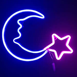 Night Lights for Kids|Neon Signs Blue Moon Pink Star LED Neon Lights for Baby Nursery Room,Wall Art Décor|USB Powered Children Lighting for Bedroom,Party,Christmas Birthday Gifts(YLX-LAF)