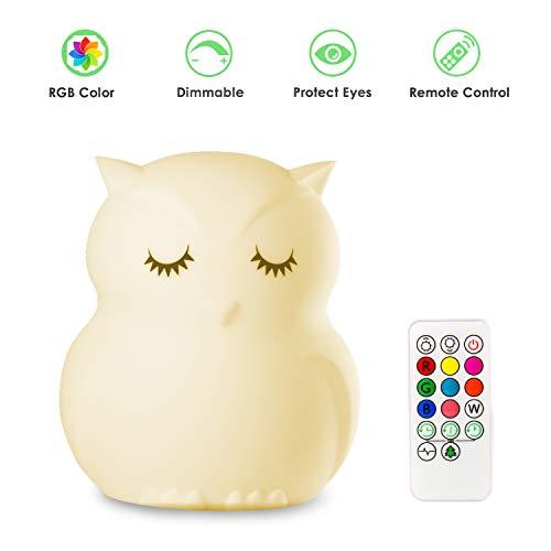 Mothermed Eulen-Nachtlicht für Kinder, Silikon-Nachtlicht, LED, dimmbar, mit Touch-Sensor, Fernbedienung, wiederaufladbar, 9 Farben, Nachtlicht für Kinder
