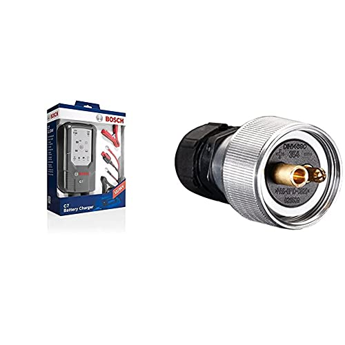Bosch 018999907M Mikroprozessor-Batterieladegerät C7, für 12 V und 24 V & Hella 8JA 001 925-001 Stecker - 12/24V - Stecker: Schraubkontakt