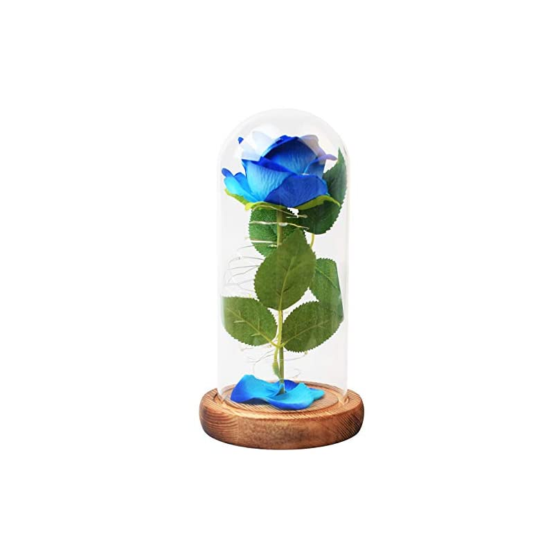 silk flower arrangements zonesta eternal rose enchanted blue rose with led strip decoration lamp artificial flower gift for women best present for girls thanksgiving christmas valentines day/wedding