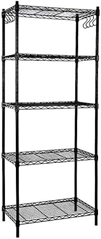 EFINE Black 5-Shelf Shelving Unit Adjustable Steel Classic with Cheap bargain 8-Hook