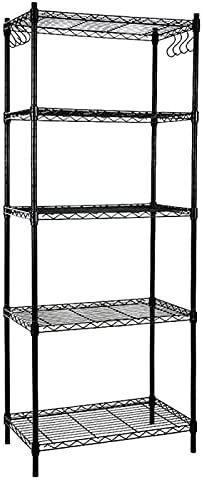 high quality EFINE Black 5-Shelf Shelving Unit with 8-Hook, Adjustable, Steel Wire Shelves, 150lbs Loading Capacity lowest Per Shelf, Shelving Units and Storage online for Kitchen and Garage (23.6W x 14D x 59H) Black online