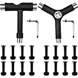 Honoson Multifunctional Skateboard T Tool and Y Tool with L Type Wrenches for Skateboard and 16 Pieces 1 Inch Skateboard Mounting Hardware