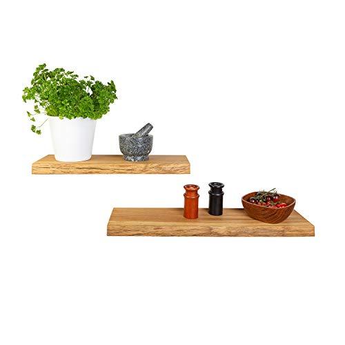 GREENHAUS Wandregal Eiche mit Baumkante 50x19x4 cm Massivholz und Handarbeit aus Deutschland Wandboard Bücherregal Regal Holz rustikal