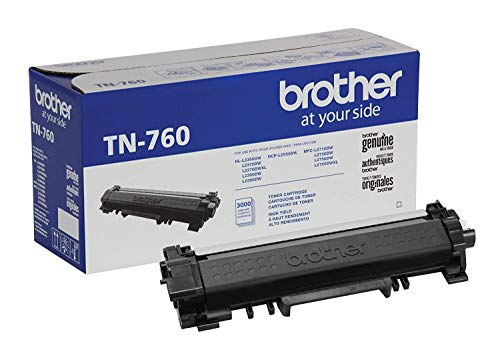 Brother TN730 Cartucho de tóner negro de rendimiento estándar, rendimiento de página de hasta 1200 páginas, cartucho de reposición de Amazon Dash., Impresora con tóner de alto rendimiento, TN760 Printer with High Yield Toner, 1