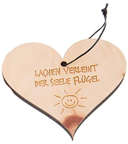 Kaltner Präsente Deco - hart hanger hout Zirbe gegraveerd lachen geeft de ziel vleugel (afmeting 90 x 82 x 5 mm)
