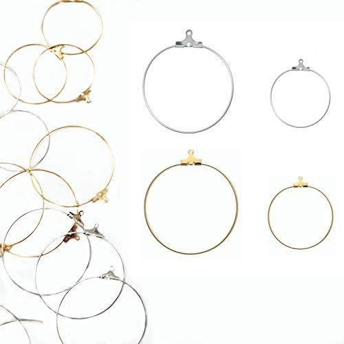 Xinhongo 80 Pcs Round Beading Hoop Earring Finding with Loop Jewelry Finding for Earring Jewelry Making Earring DIY Craft(Gold/Silver)
