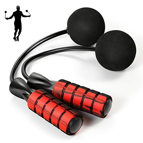 Denvosi Cordless Jump Rope Weighted Workout, Ropeless Skipping Rope for Fitness, Ball Bearing Cotton Rope Adjustable Length for Cardio, Endurance Training, Jumping Exercise(Red)