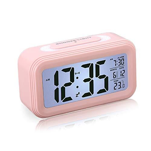 Reloj Despertador LCD Digital, Multi-Funciones Alarma Inteligente Muestra Hora, Temperatura, Fecha Silencioso como Regalo Creativo para los Viejos Niños Dormitorio Oficina (Rosa)