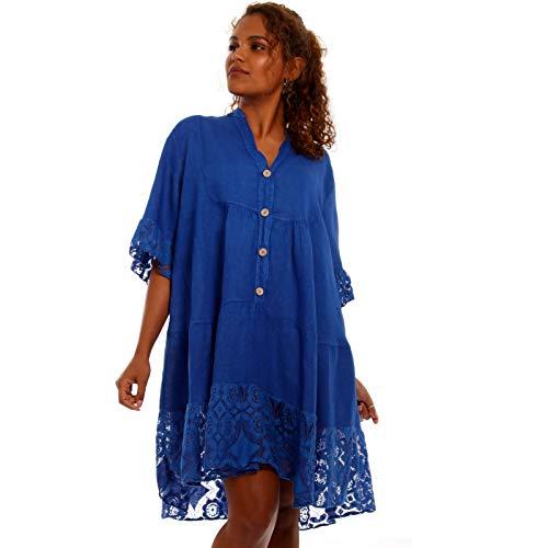 YC Fashion & Style Damen Oversize Minikleid weites Tunikakleid mit Spitze aus 100% Leinen Plus Size Freizeit Party Strand Kleid FÜR Frauen MIT Kurven Made in Italy One Size (One Size, Royalblau)