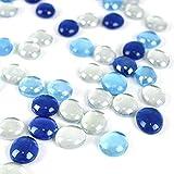 Ty Galets de verre rond Transparent, 100env. 0.45kg Remplir 0.3l Vol. Premium Bleu Couleurs mélangées pierres plates...