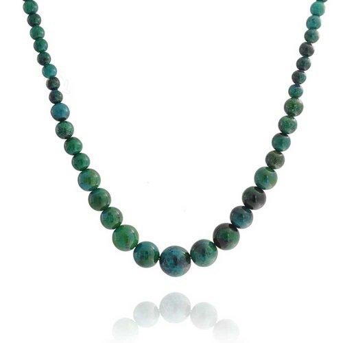 Verde estabilizado turquesa graduado redondo bola de cordón Strand collar para las mujeres plata plateado tornillo cierre 18 pulgadas