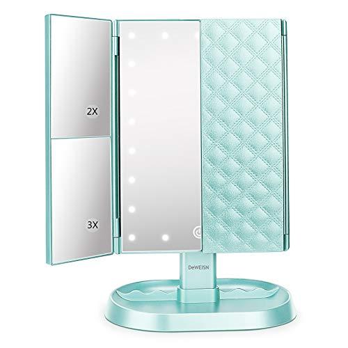 DeWEISN Espejo Maquillaje con Luz, Espejo de Tocador Iluminado con 1x/2x/3x Aumento,21 LED Portátil Espejo Triple Pantalla Táctil Rotación de 180° Espejo Cosmético para Viaje, Regalo para Mujeres